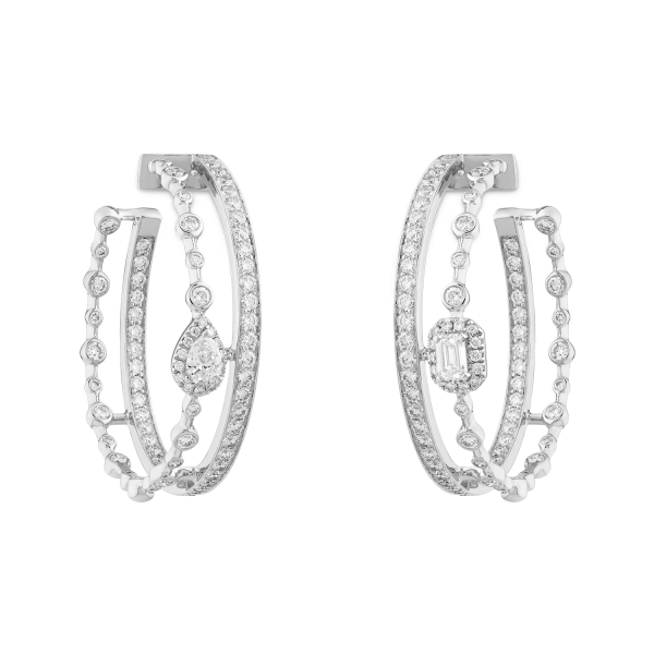 HAPPY Hoop Earrings with Diamonds