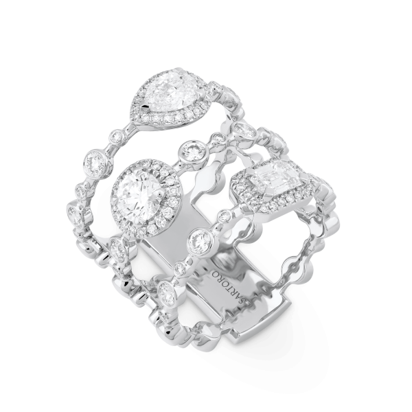 HAPPY Statement Ring with Diamonds