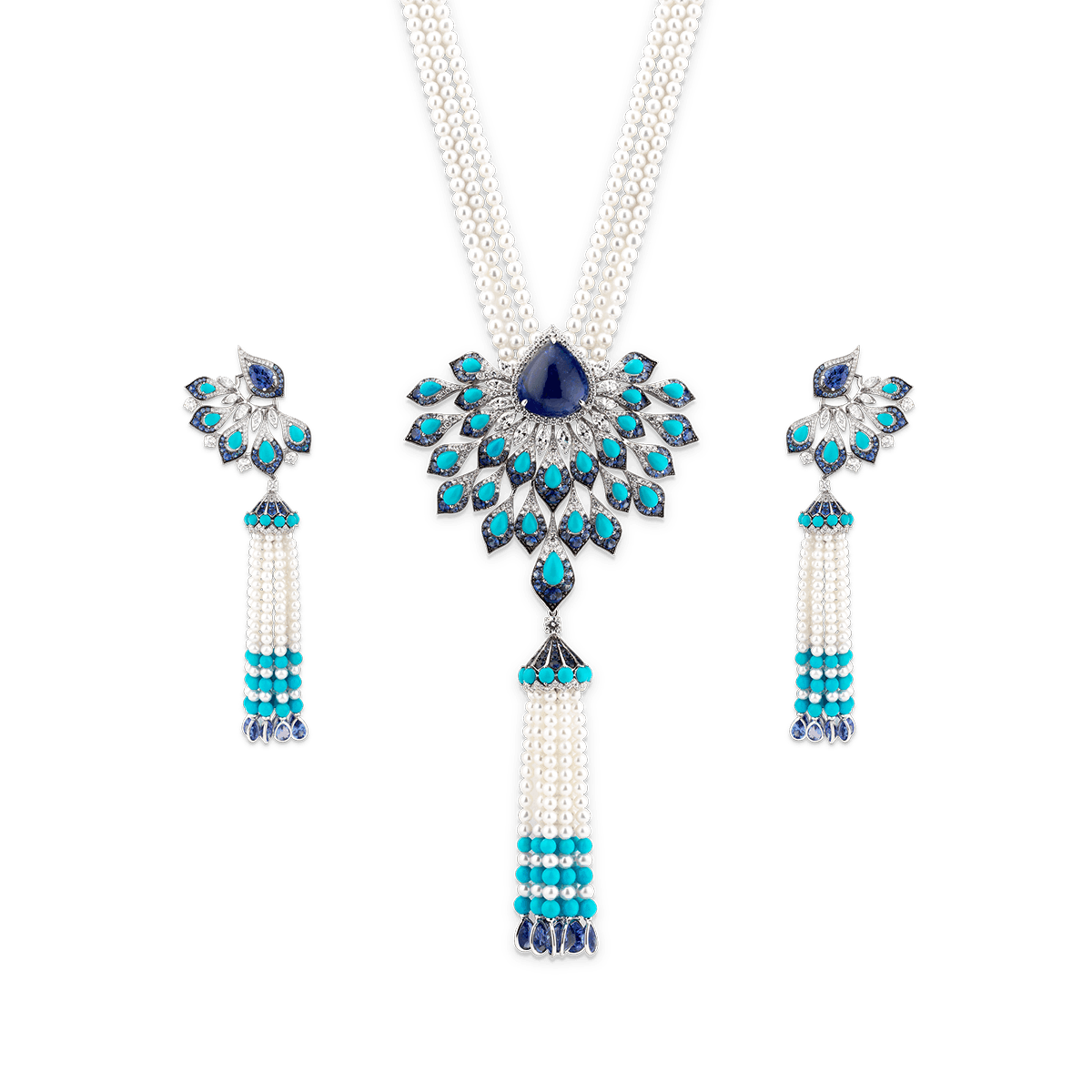 Sartoro PEACOCK Turquoise High Jewelry Set