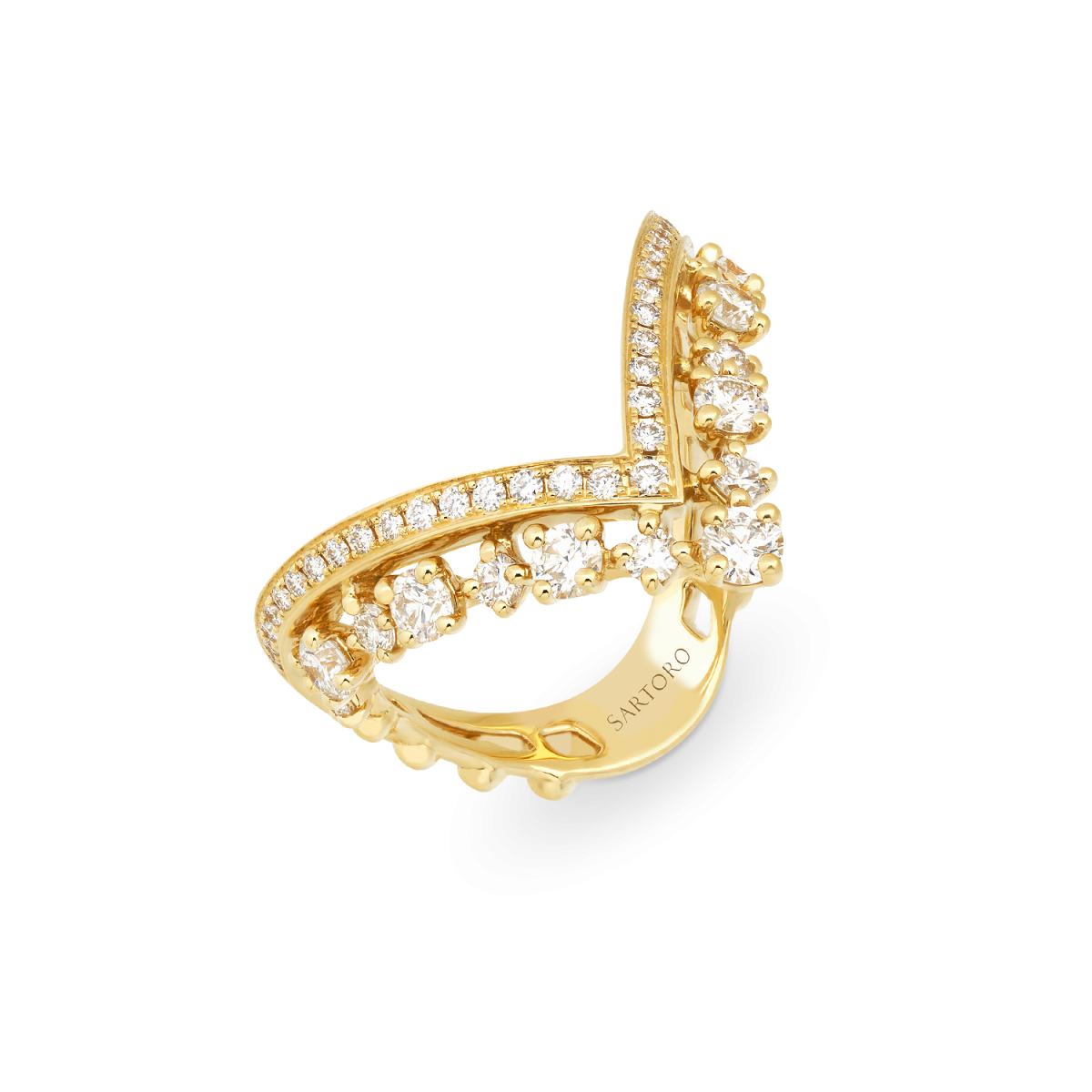 yellow gold ring with diamonds