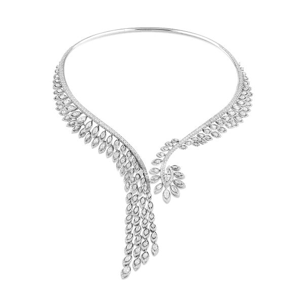 Plume White gold necklace with diamonds