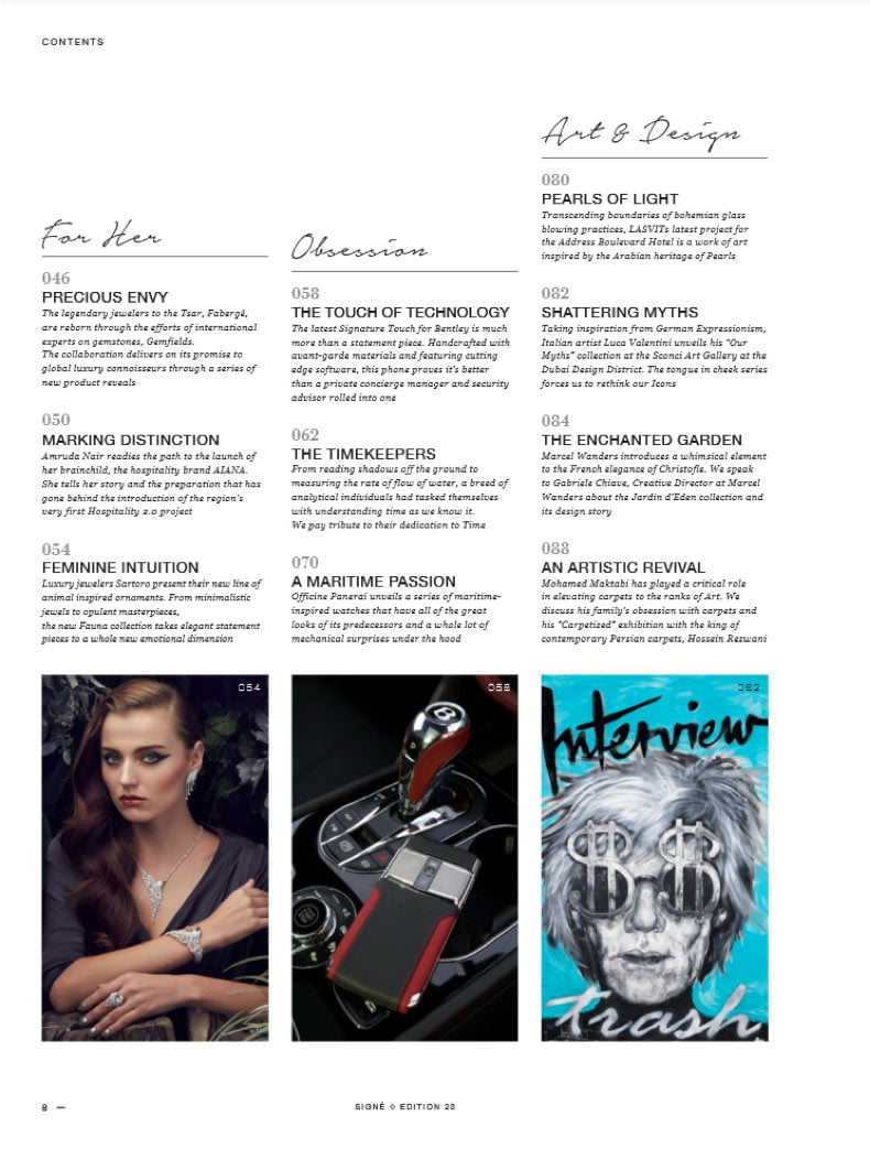 SIGNE magazine gives FAUNA collection 4 pages feature in the november issue.