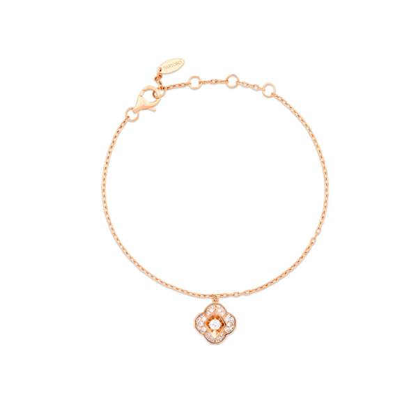 Zeste chain bracelet in 18K rose gold featuring 35 round brilliant diamonds (0.19 carat).