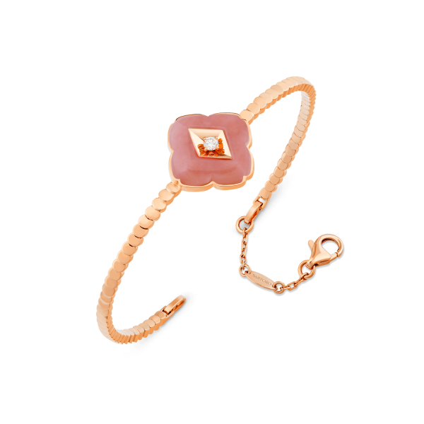 Rose gold, diamond and Pink Opal Bangle