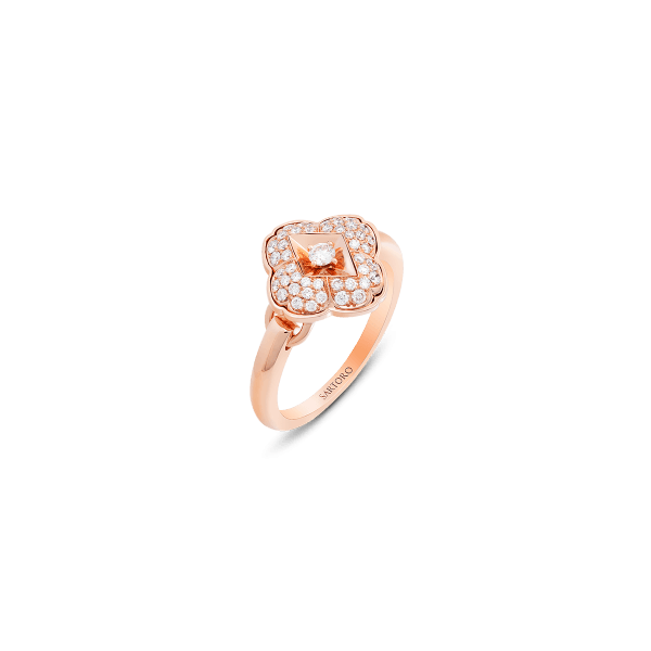 Zeste ring in 18K rose gold featuring 45 round brilliant diamonds (0.31 carat).