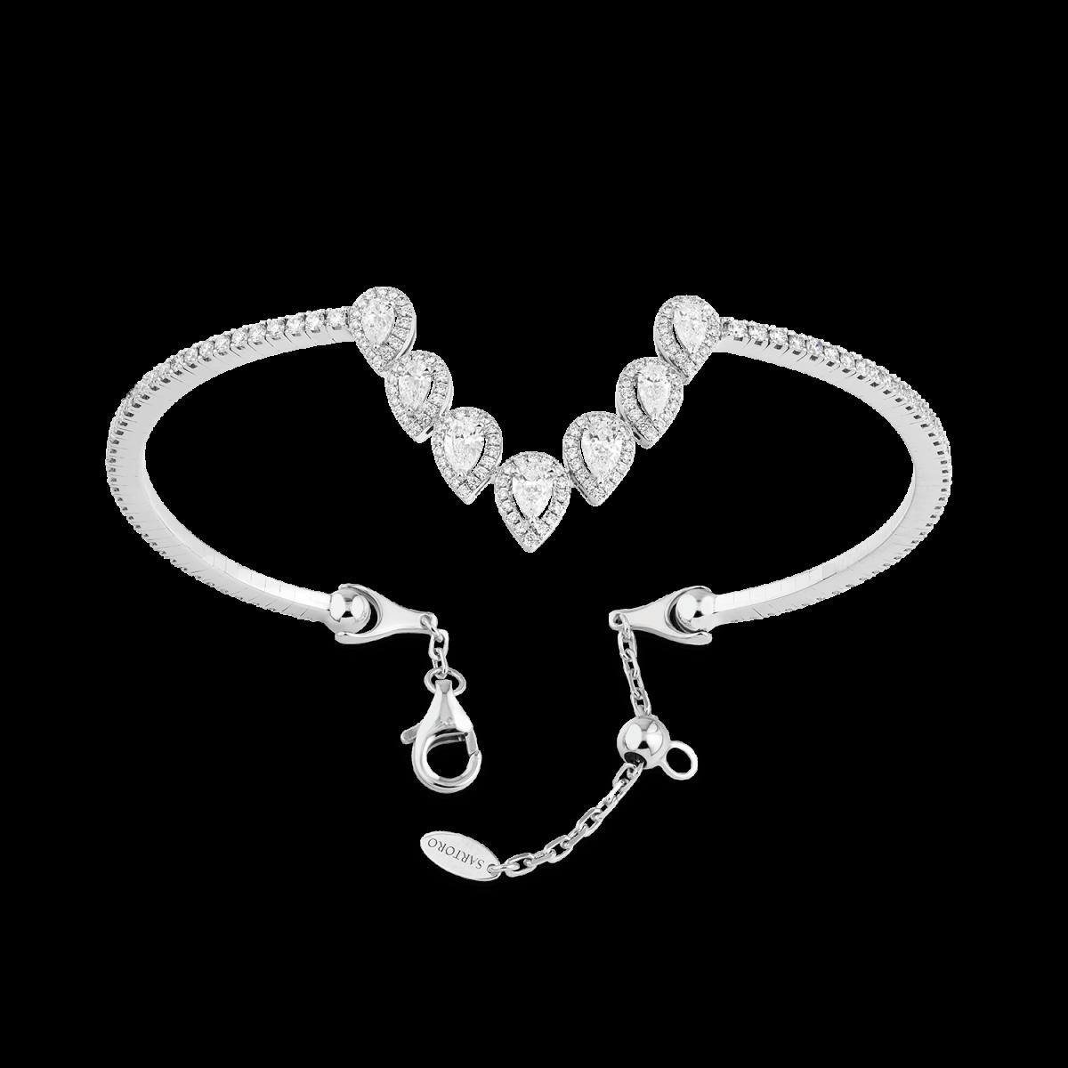 Ariana white gold bangle with diamonds