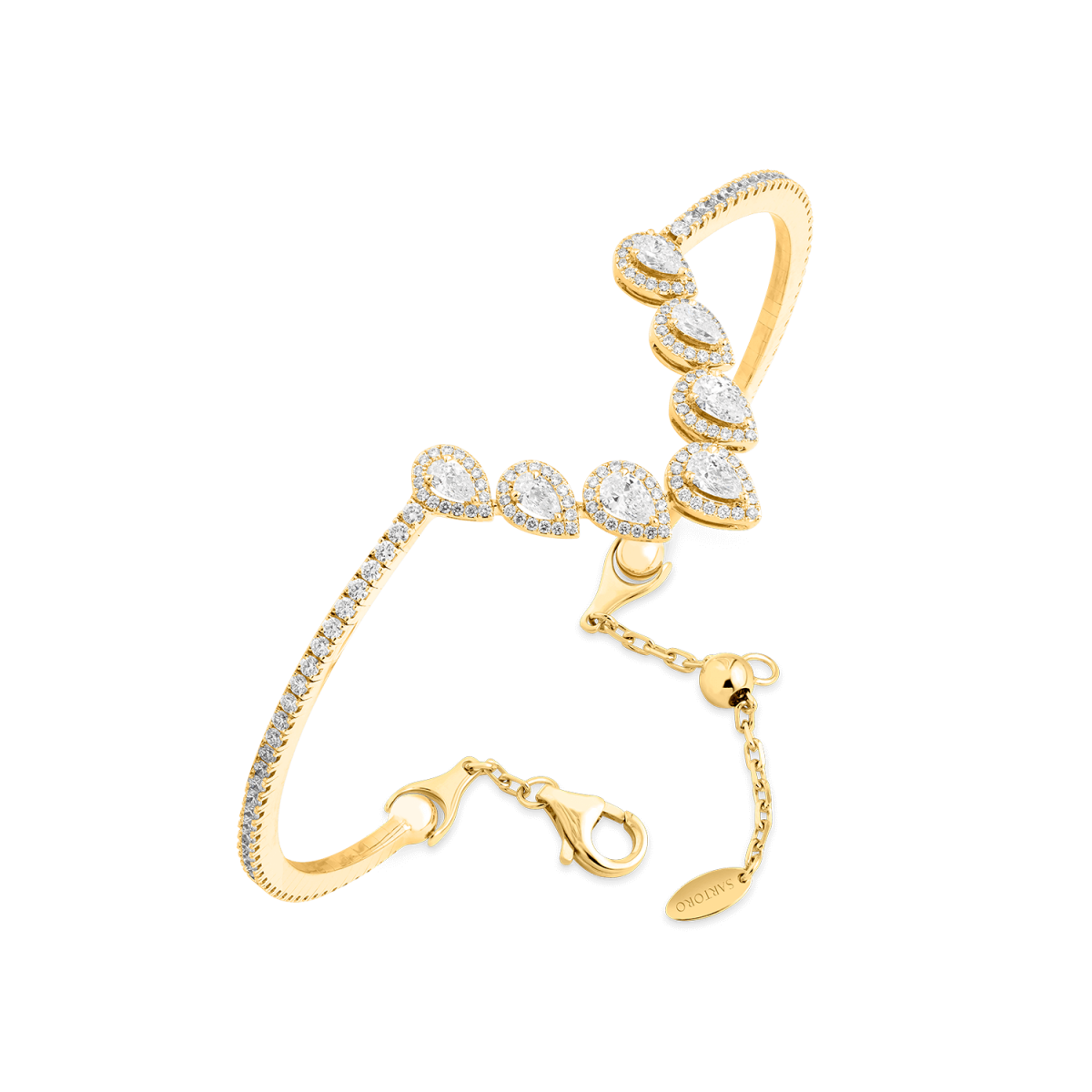 Ariana yellow gold bangle with diamonds