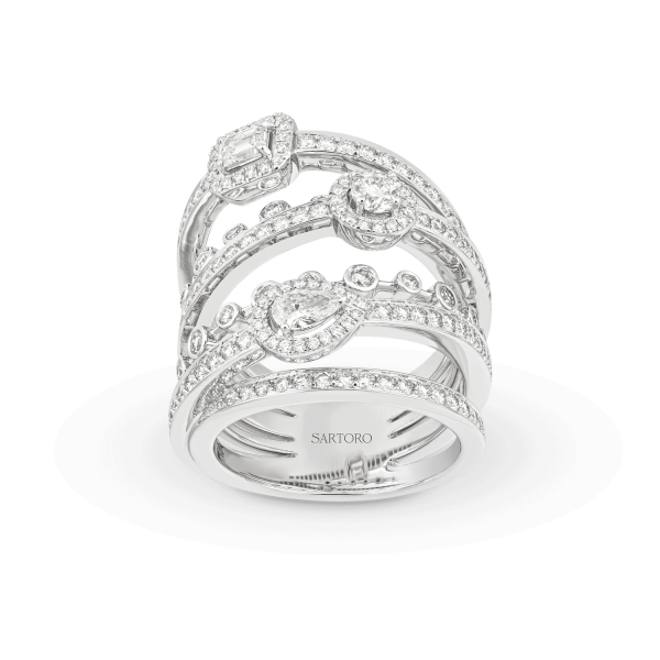 Sartoro Crazy Happy collection white gold and diamond ring