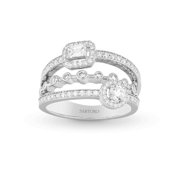 Crazy Happy whitegold ring with diamonds
