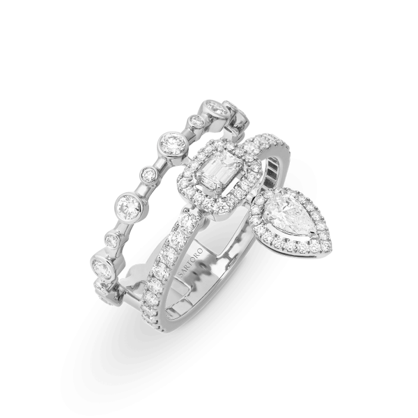 Mini Happy white gold ring with diamonds