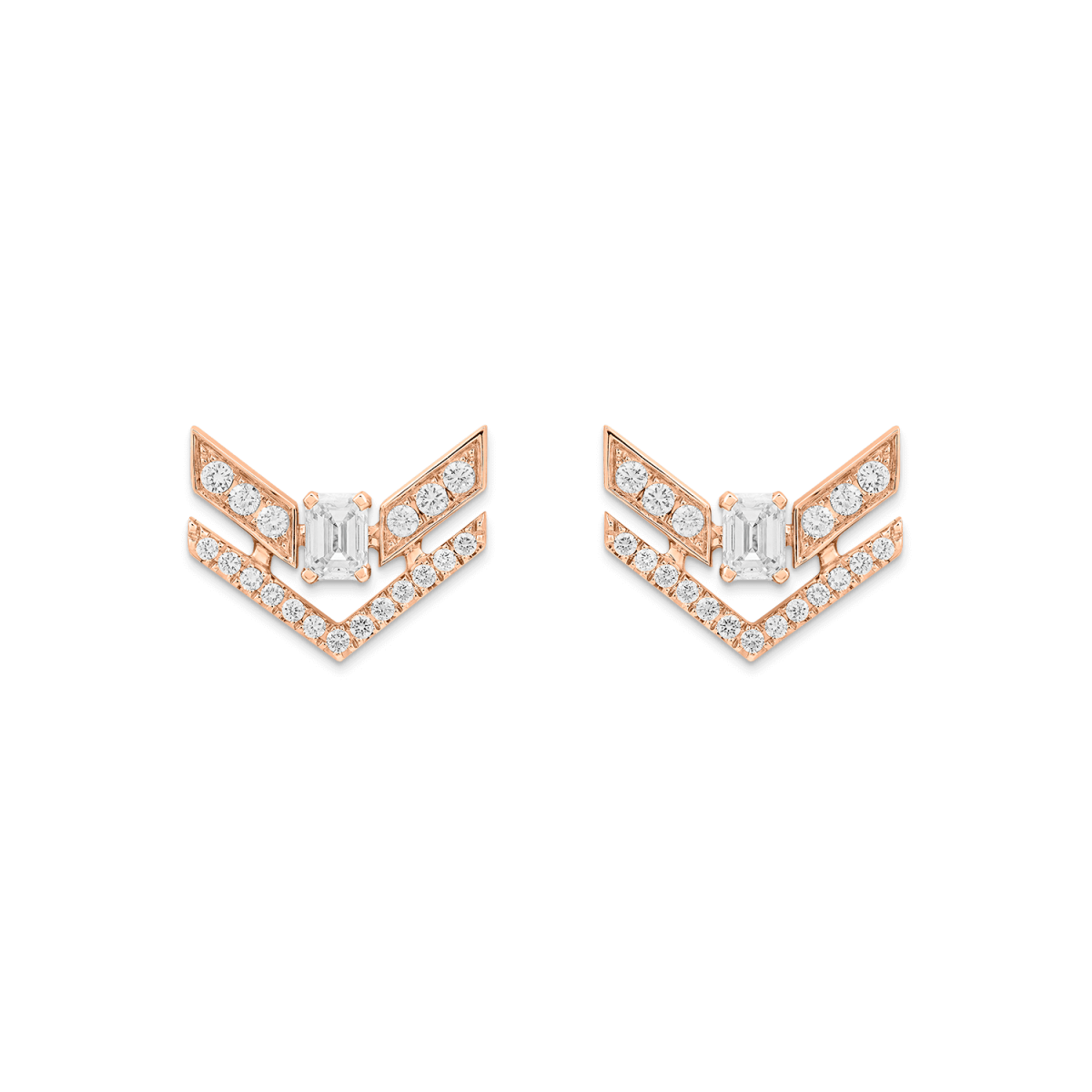 rose gold earrings with diamonds