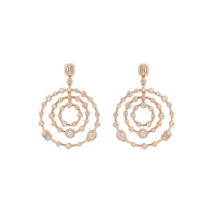Happy rose gold earrings with diamonds