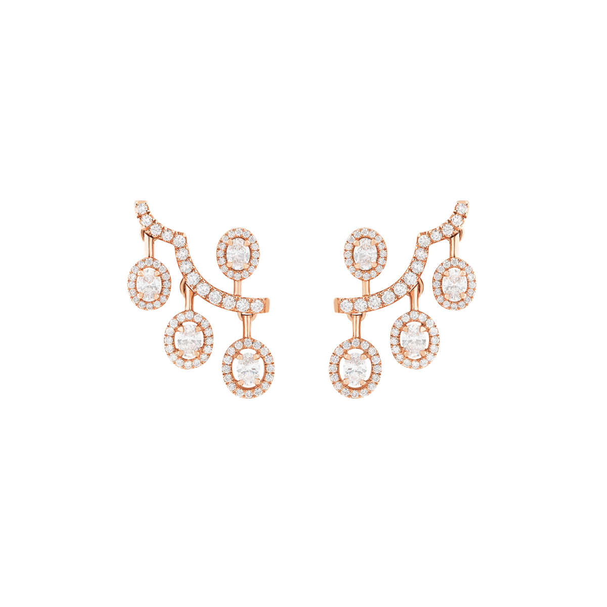 ariana rose gold earrings with diamonds