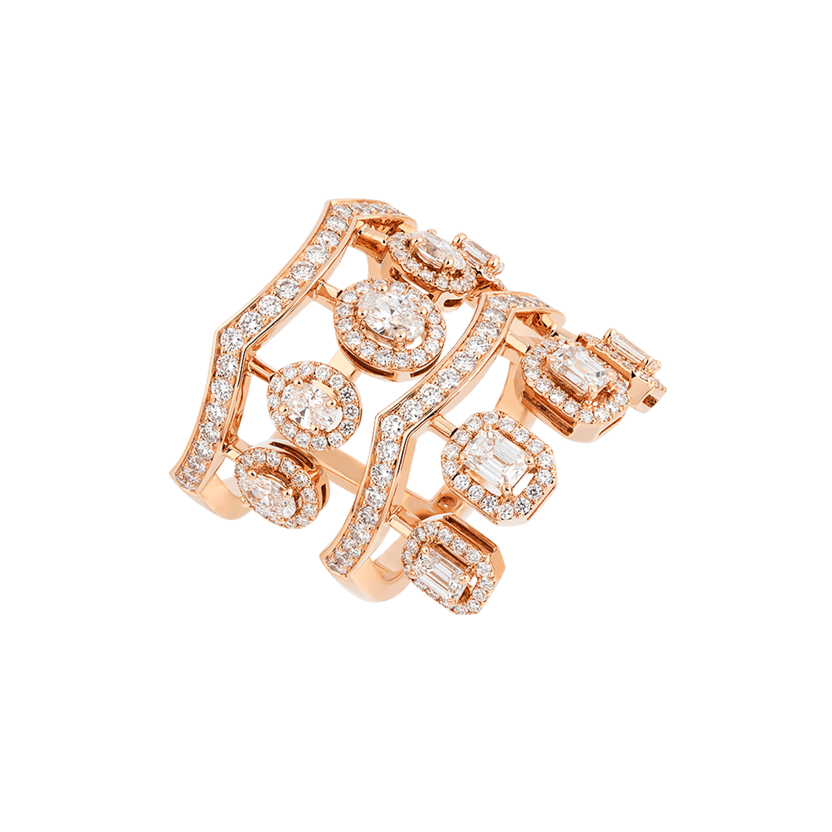 ariana rose gold ring with diamonds